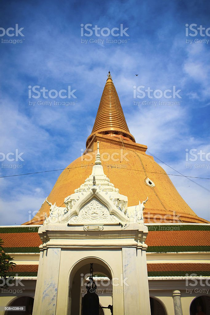 The Ancient stupa of phra pathom chedi stock photo