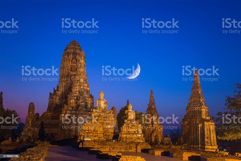 the ancient temple in the night scene stock photo