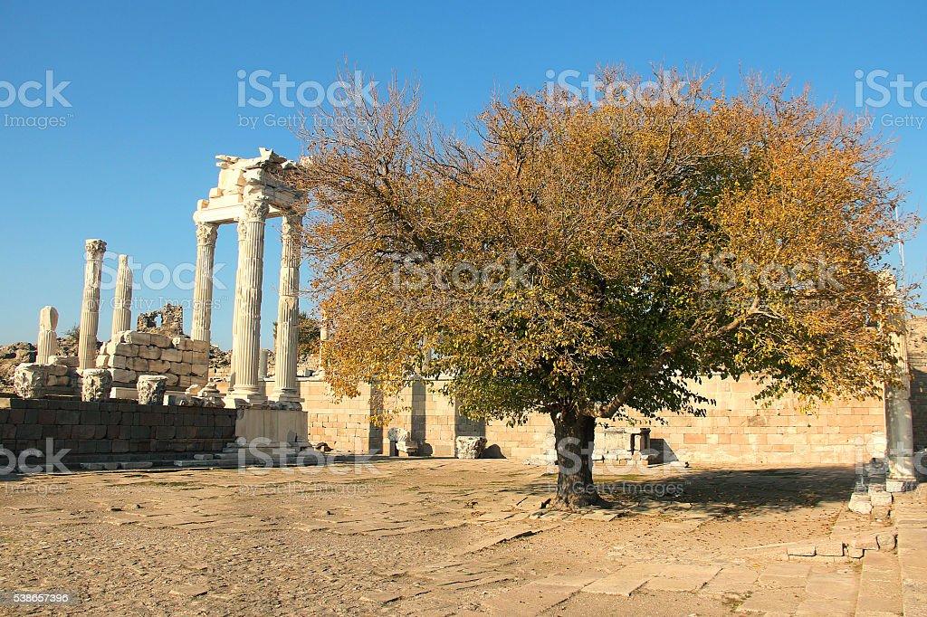 the ancient temple of Trajan in Bergama Acropolis, Turkey stock photo