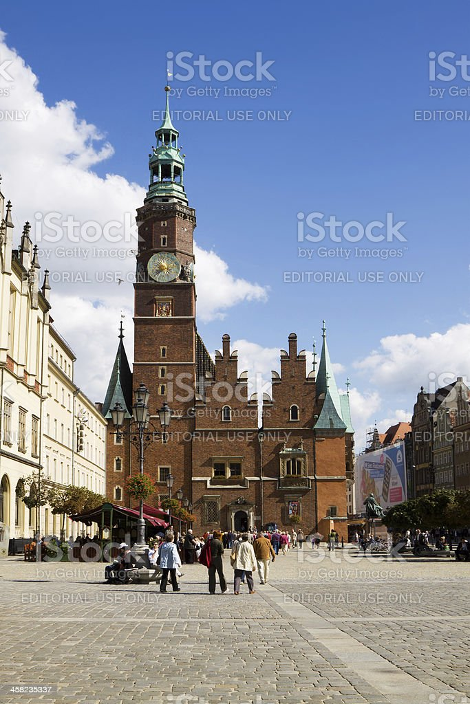 The ancient Town Hall in Wroclaw, Poland royalty-free stock photo