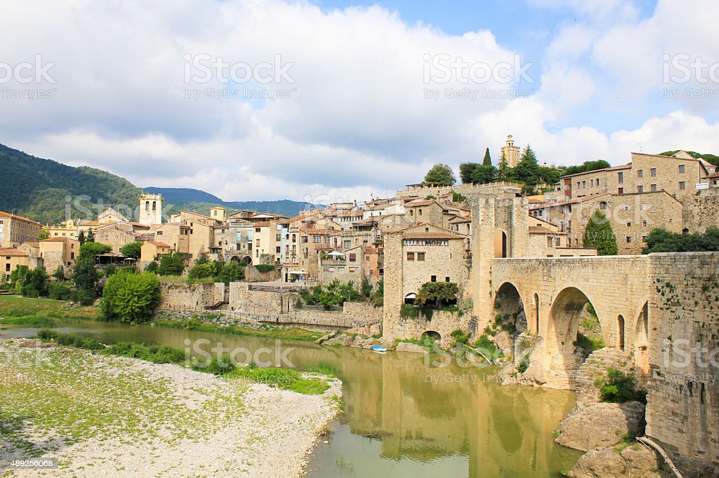 The ancient town of Besalu. stock photo