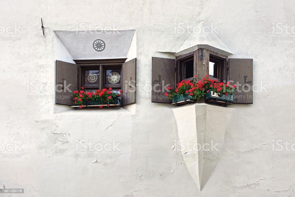 The ancient traditional window. Zuoz, Switzerland stock photo
