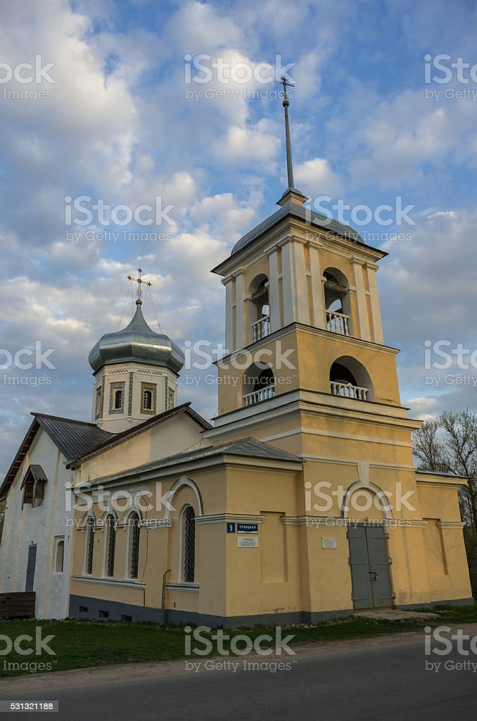 The ancient Trinity Church with the bell tower stock photo