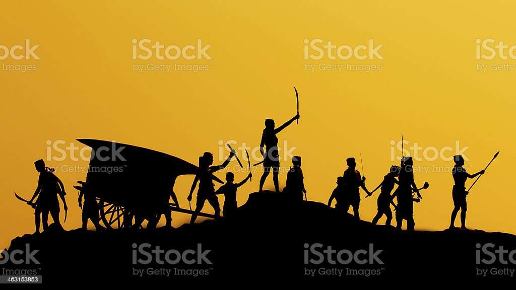 The ancient warriors of Thailand stock photo