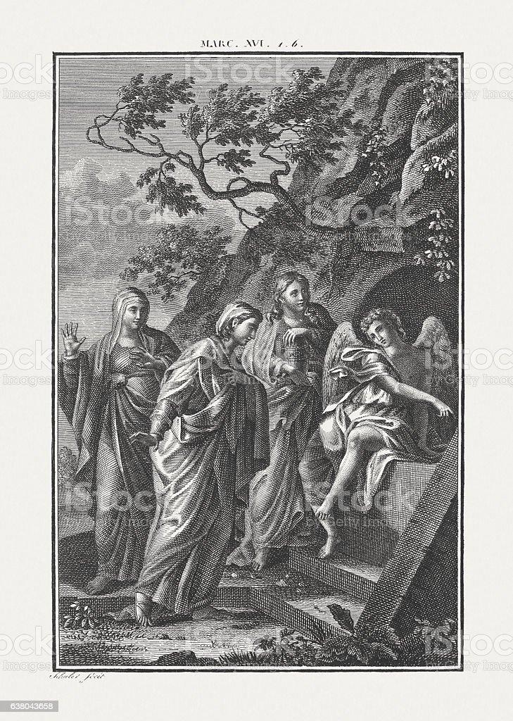 The angel proclaims the resurrection of Jesus, published c. 1850 stock photo