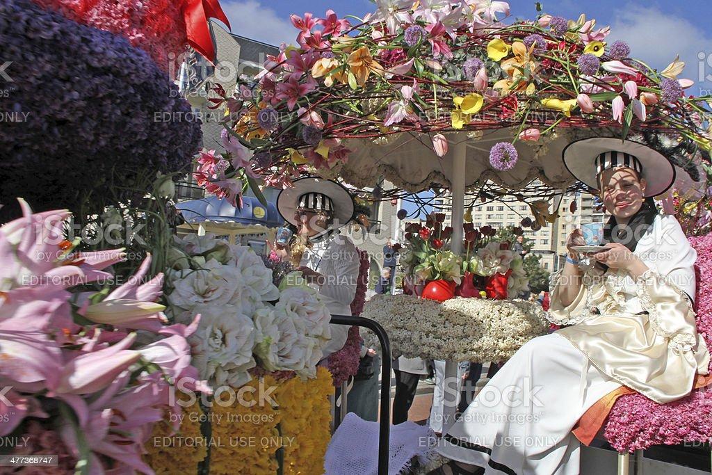 The Annual Flower Parade in Keukenhof stock photo