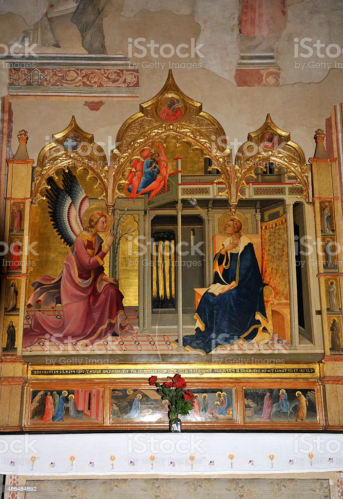 The Annunciation - painting in a church of Florence stock photo