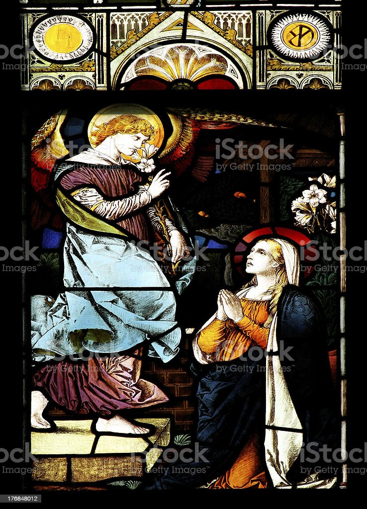 The Annunciation (stained glass window) stock photo