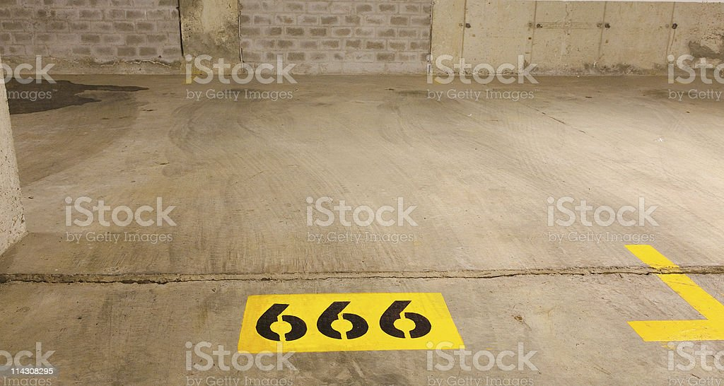 The Antichrist's parking place stock photo