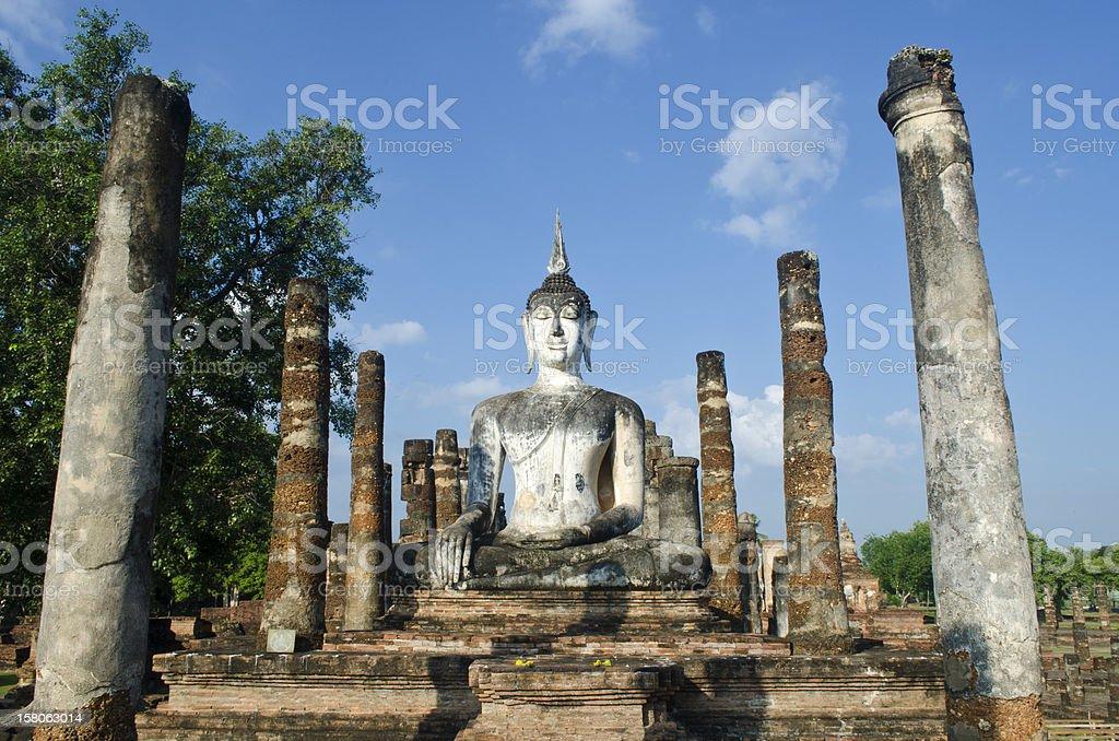The antique Buddha statue at Sukhothai Thailand royalty-free stock photo
