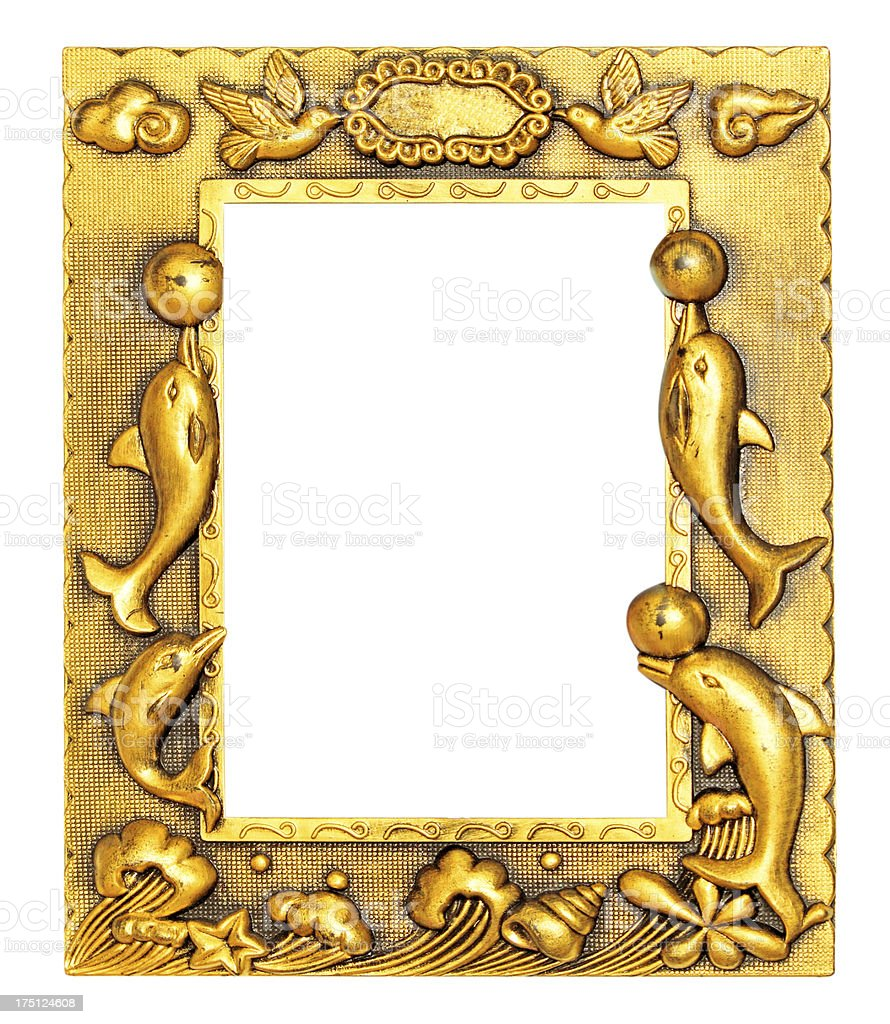 The antique gold frame royalty-free stock photo