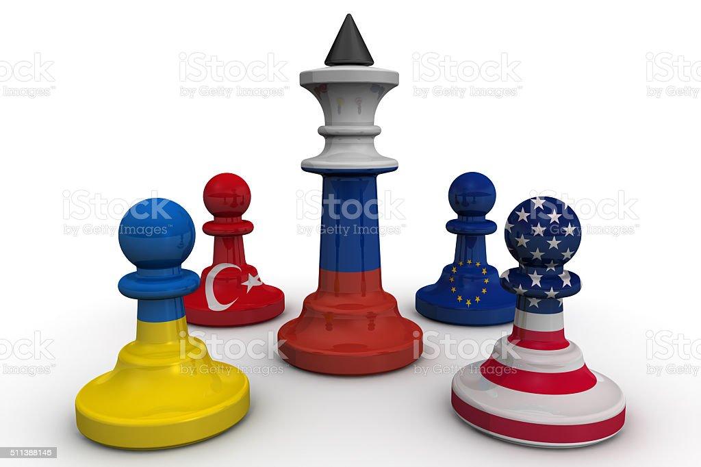 The anti-Russian coalition. Concept stock photo