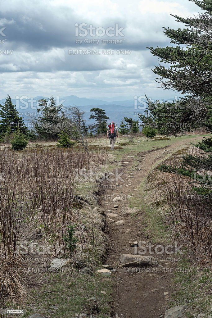 The Appalachian trail with a hiker stock photo