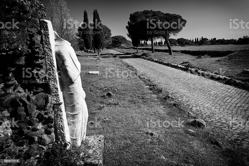 The Appian way in Black and White stock photo