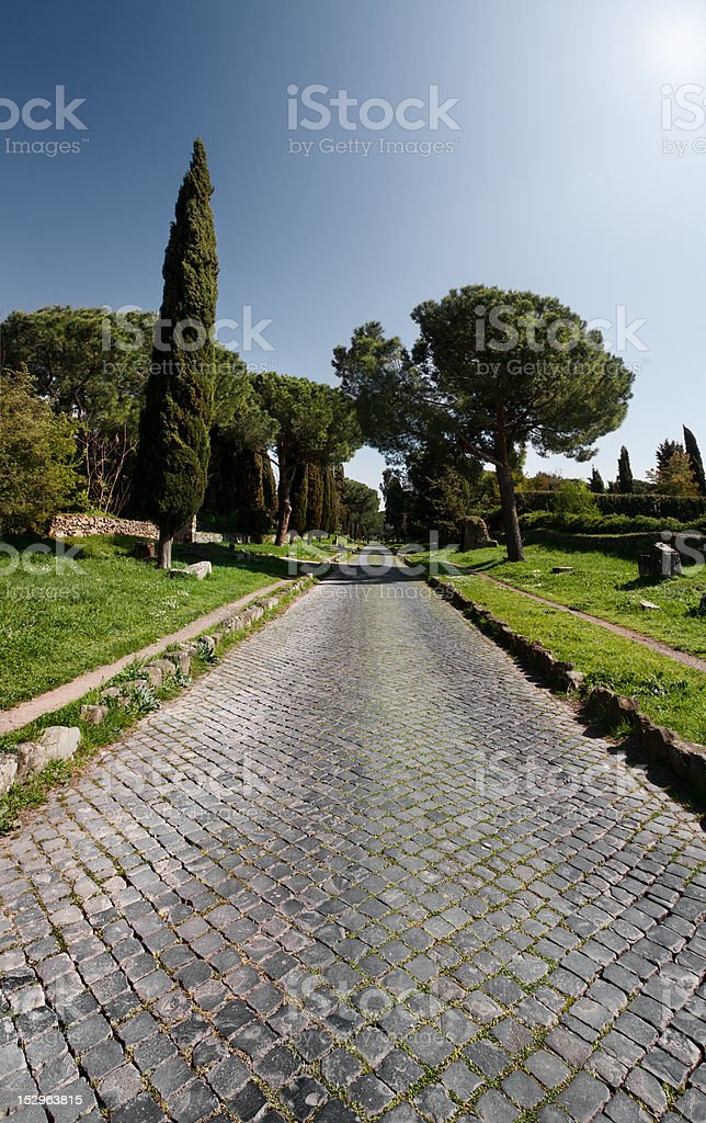 The Appian way in Rome, or Via Appia Antica stock photo