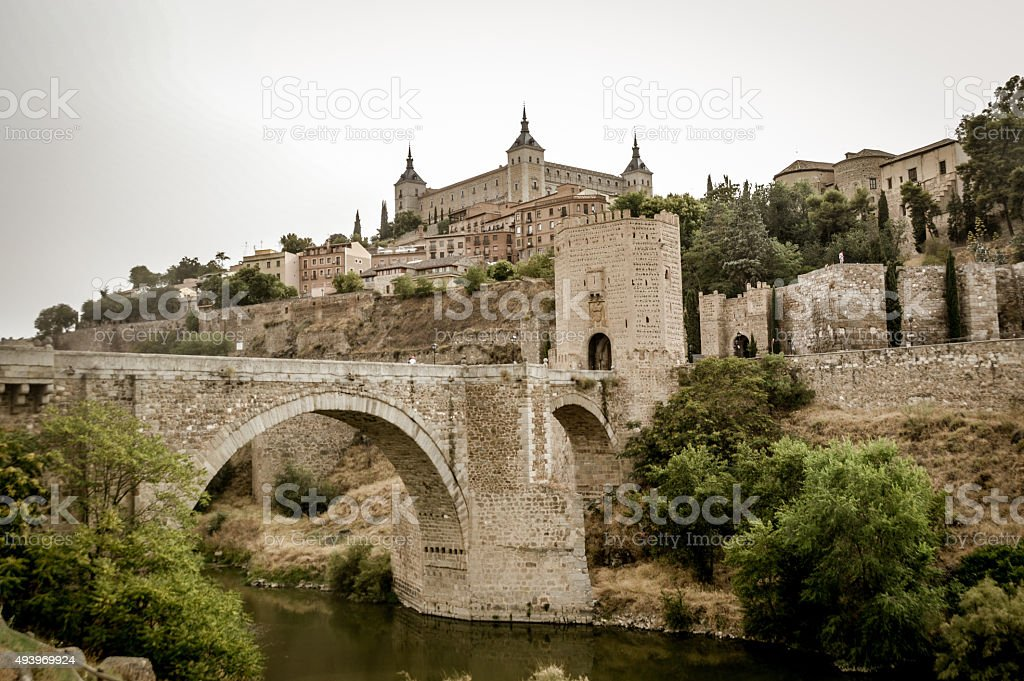 The approach up the hill to Toledo, Spain stock photo