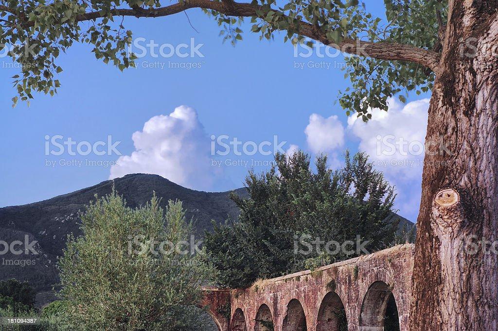 The aqueduct in Asciano Pisano - Tuscan landmark stock photo