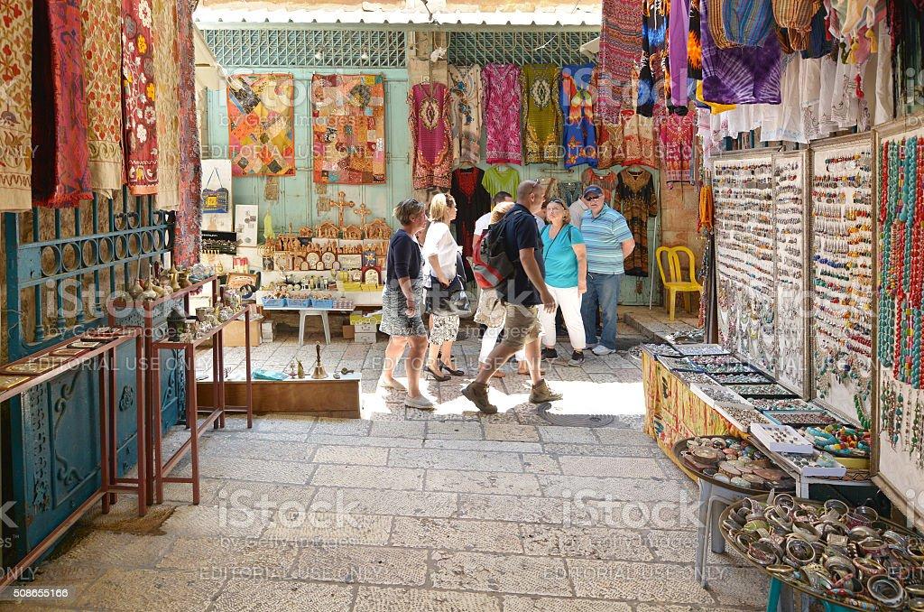 The Arab market of the old city Jerusalem, Israel stock photo