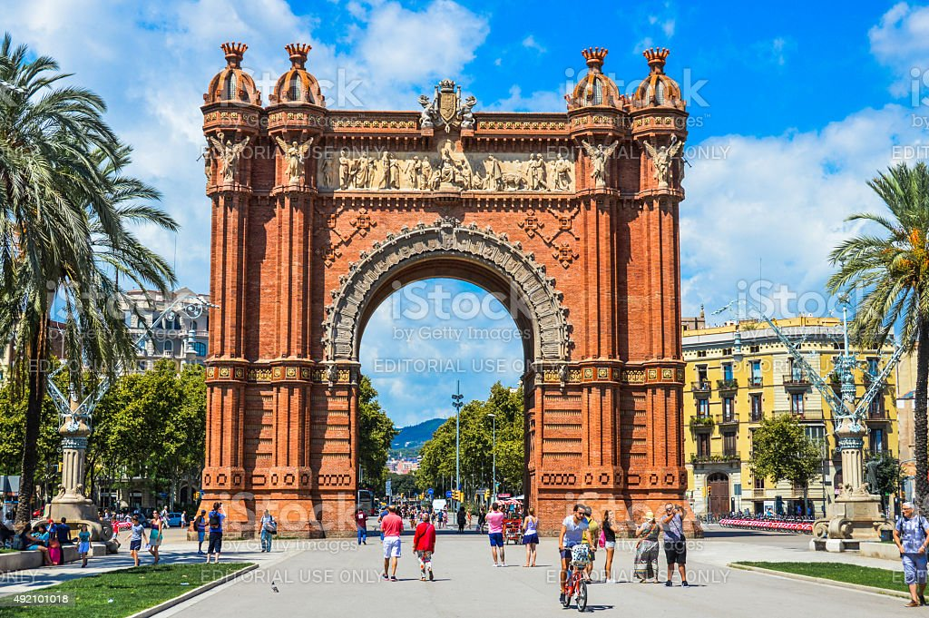 The Arc de Triomf during the day. stock photo