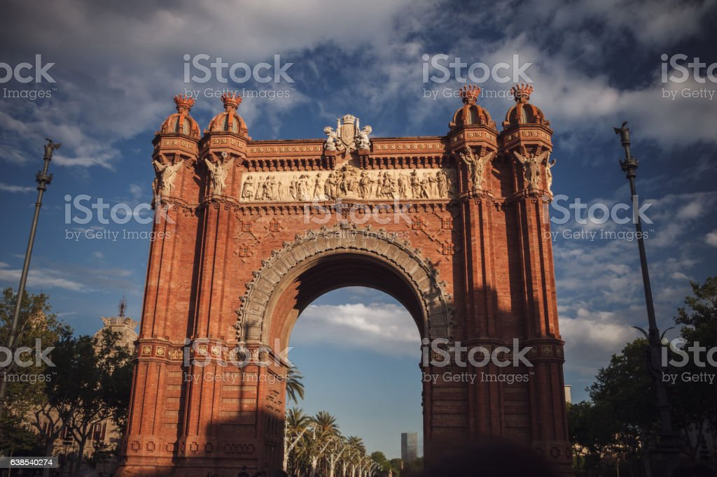 The Arc de Triomf in Barcelona, Spain. Traveling in Europe. stock photo
