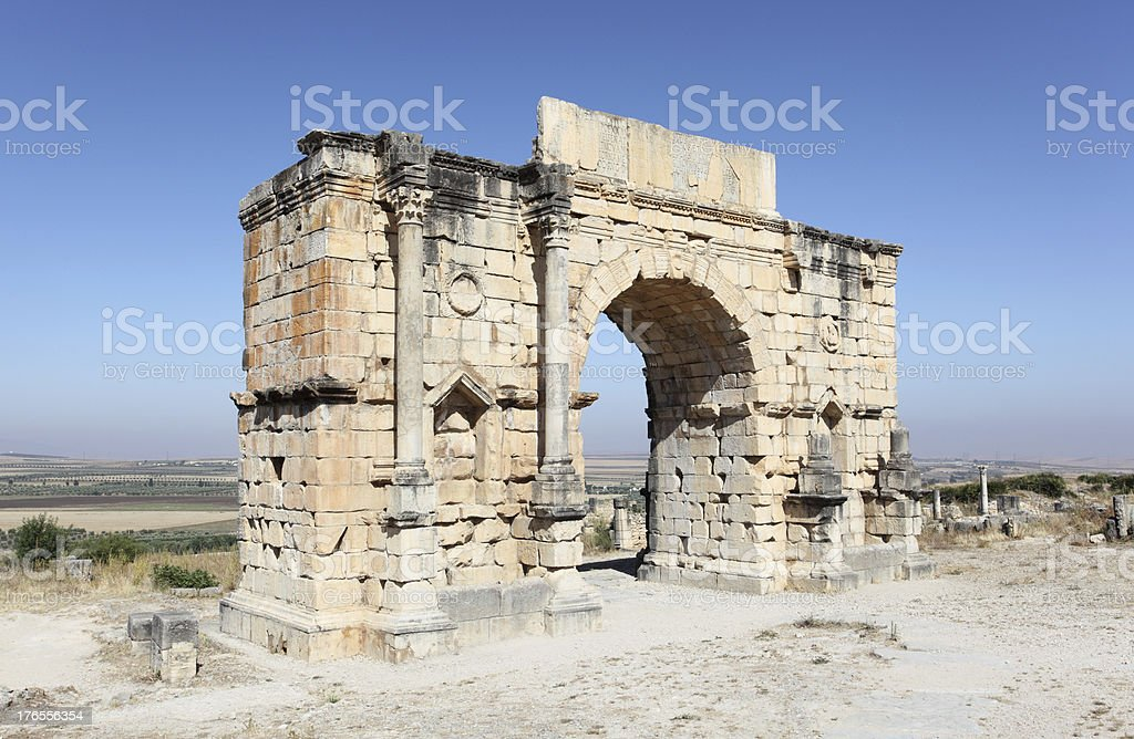The Arch of Caracalla at Volubilis, Morocco royalty-free stock photo
