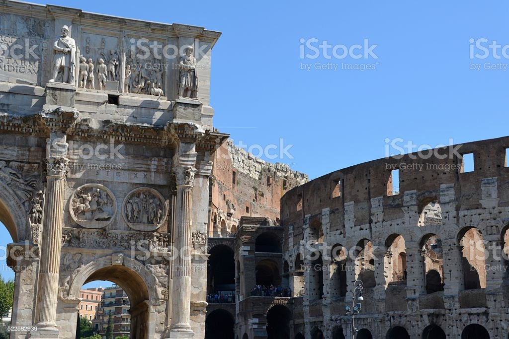 The Arch of Constantine and Colosseum, Rome stock photo