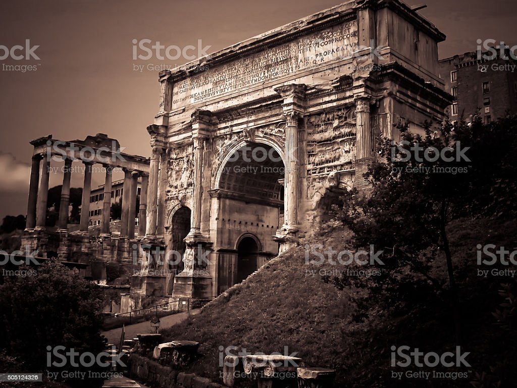 The Arch of Septimius Severus in Sepia Forrum Rome Italy stock photo