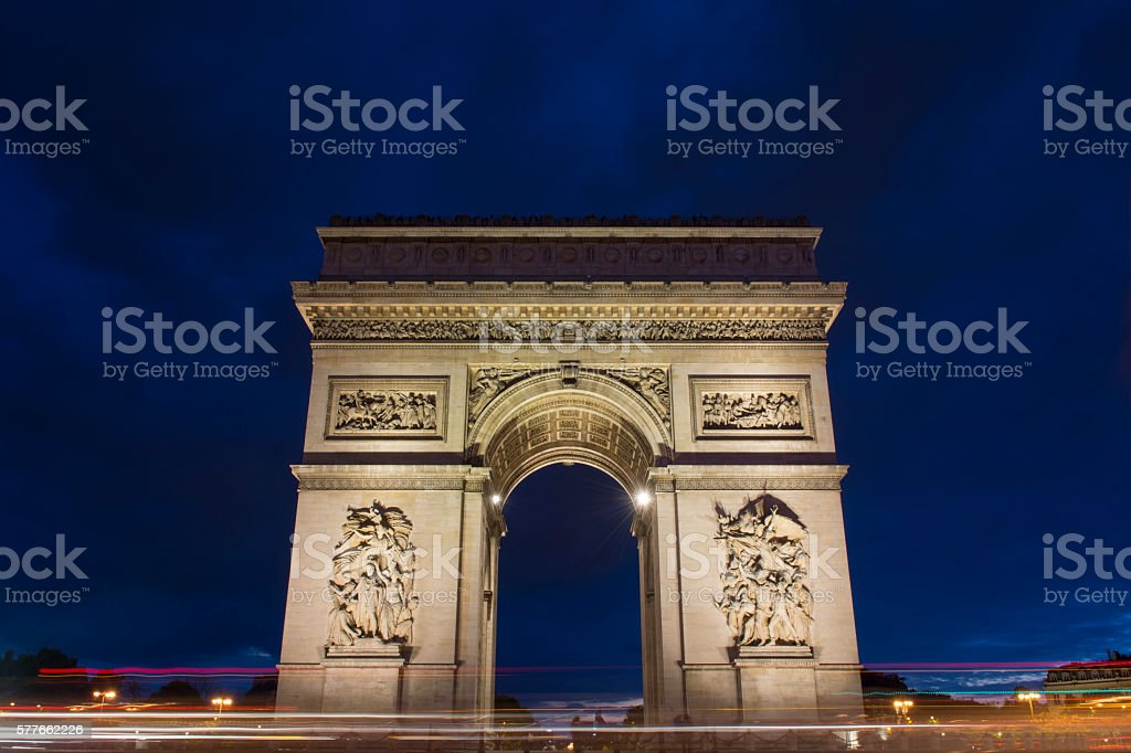 The Arch of Triumph at dusk stock photo