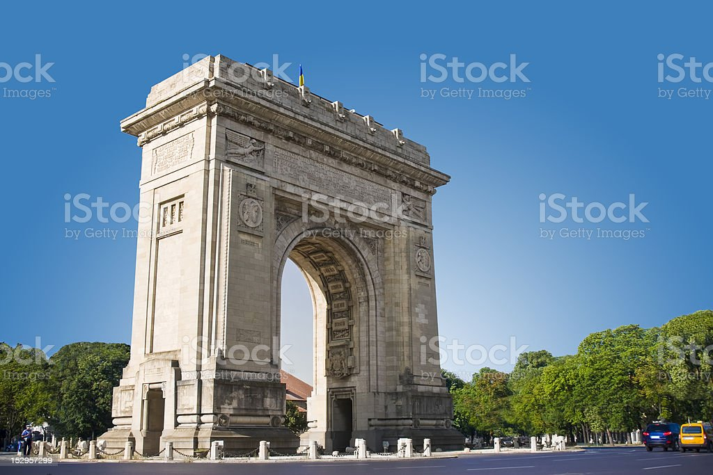 The Arch of Triumph of Bucharest, Romania stock photo