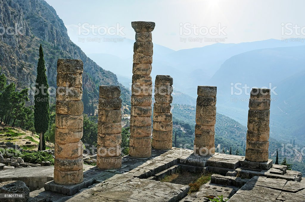 The archaeological ruins of Delphi in Greece stock photo