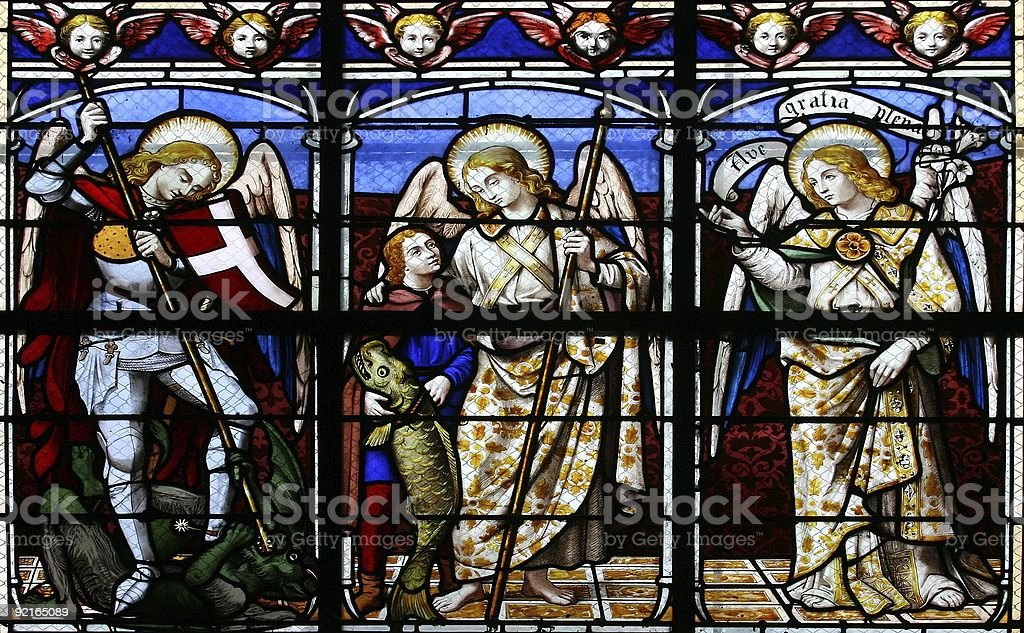 The Archangels (stained glass window) royalty-free stock photo
