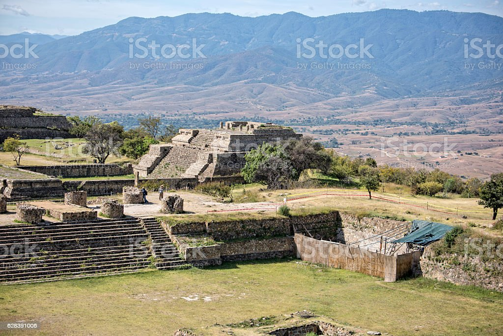 The archeological site of Monte Alban stock photo