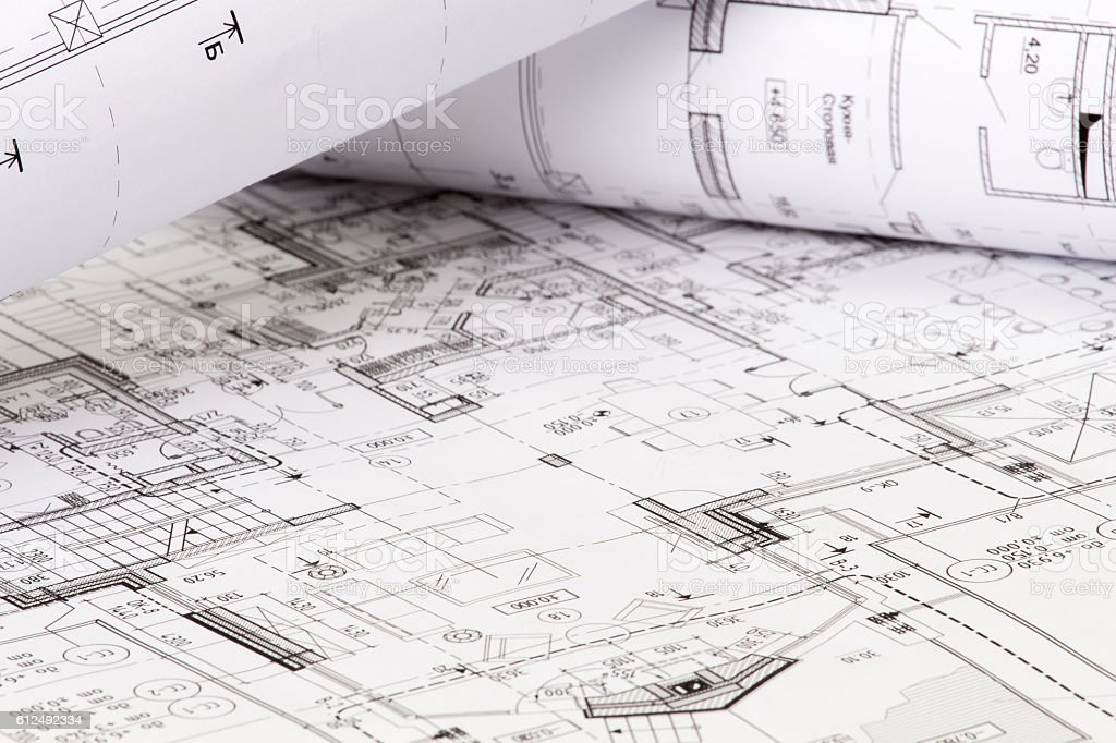 The architectural design of the house on paper stock photo