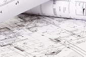The architectural design of the house on paper