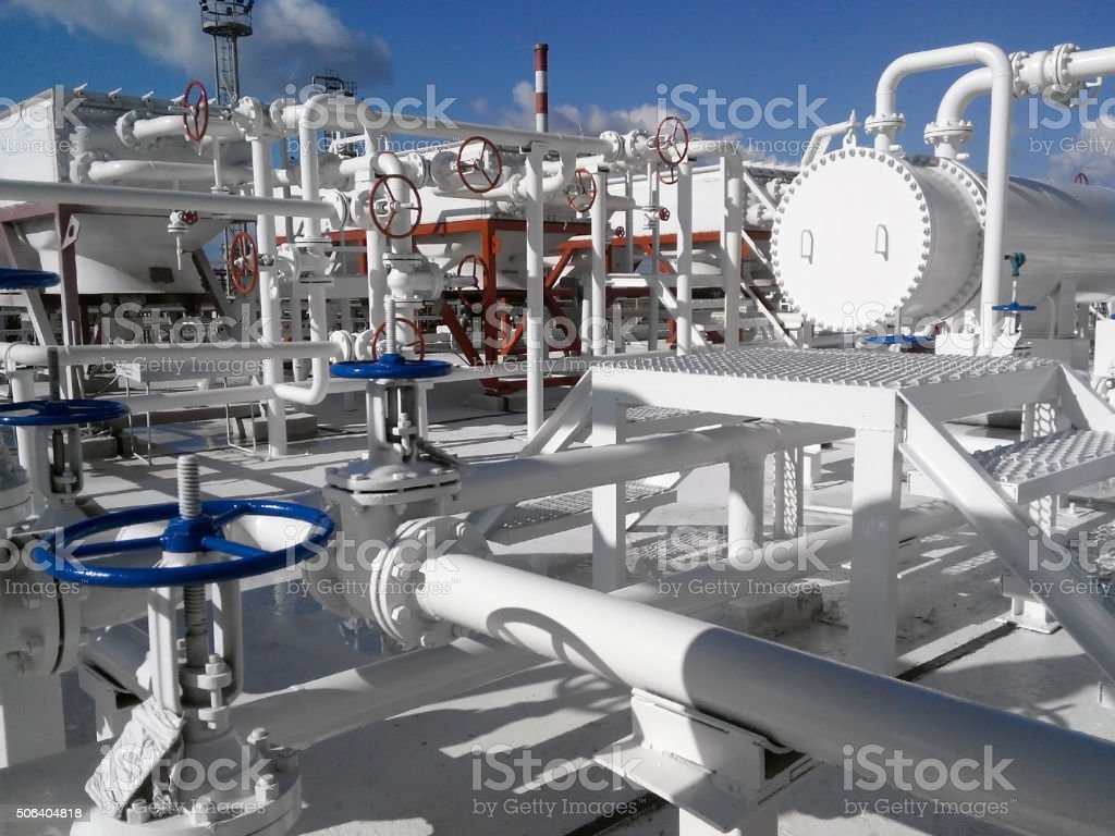 The area of  equipment to cool the oil product stock photo