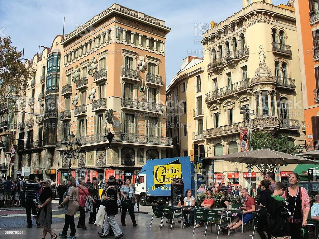 The area of La Boqueria on the Rambla in  Barcelona stock photo