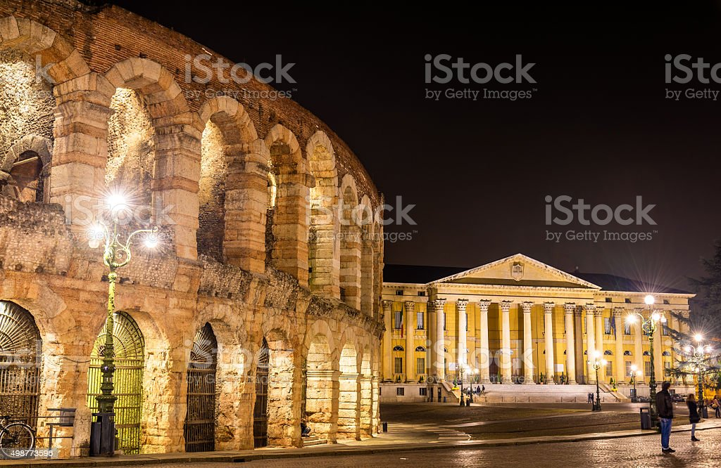The Arena and Palazzo Barbieri in Verona - Italy stock photo