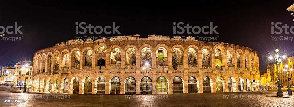 The Arena di Verona at night - Italy stock photo