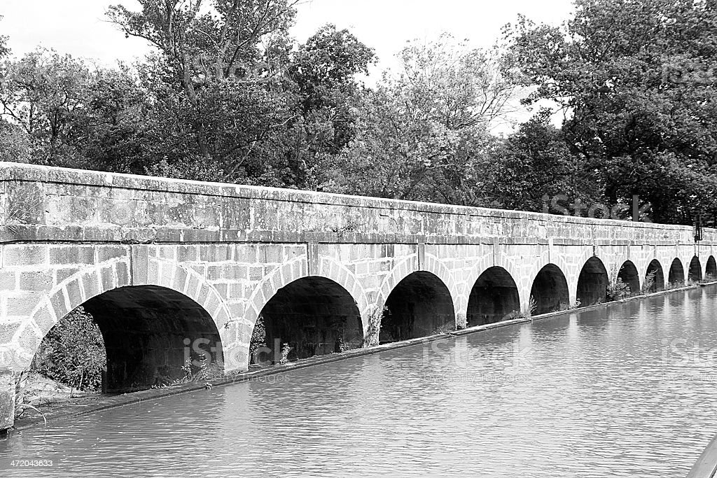 The Argent-Double Aqueduct, Canal Di Midi. France stock photo