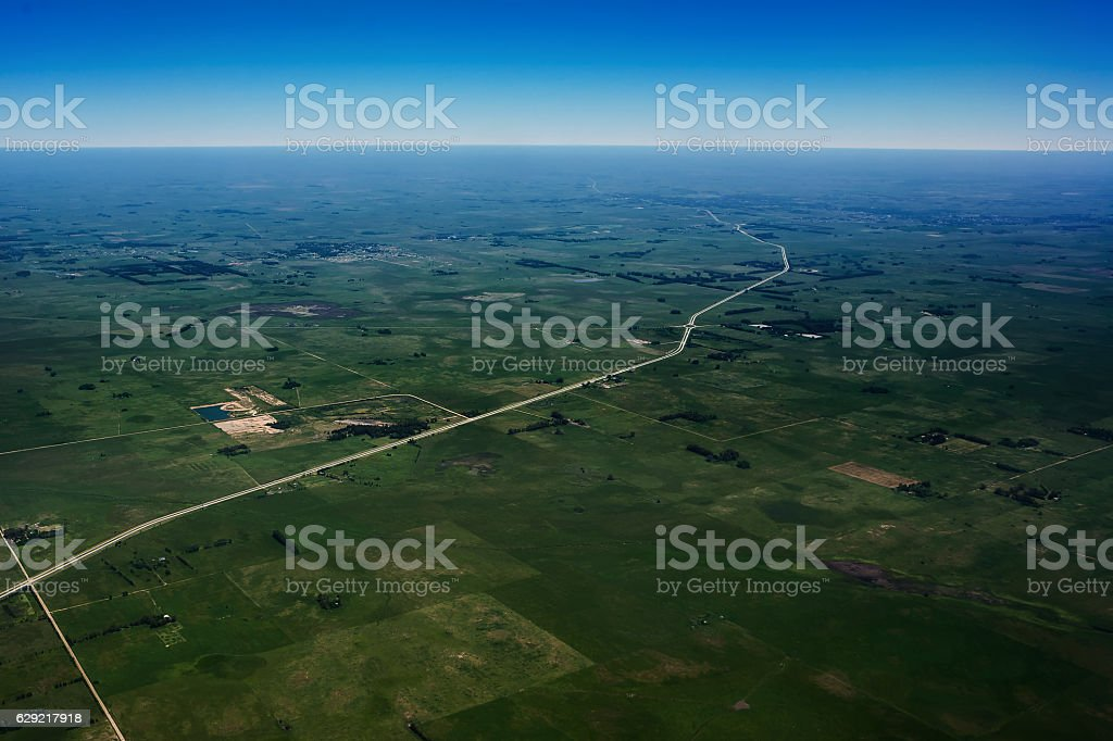 The Argentine pampas view from the airplane stock photo