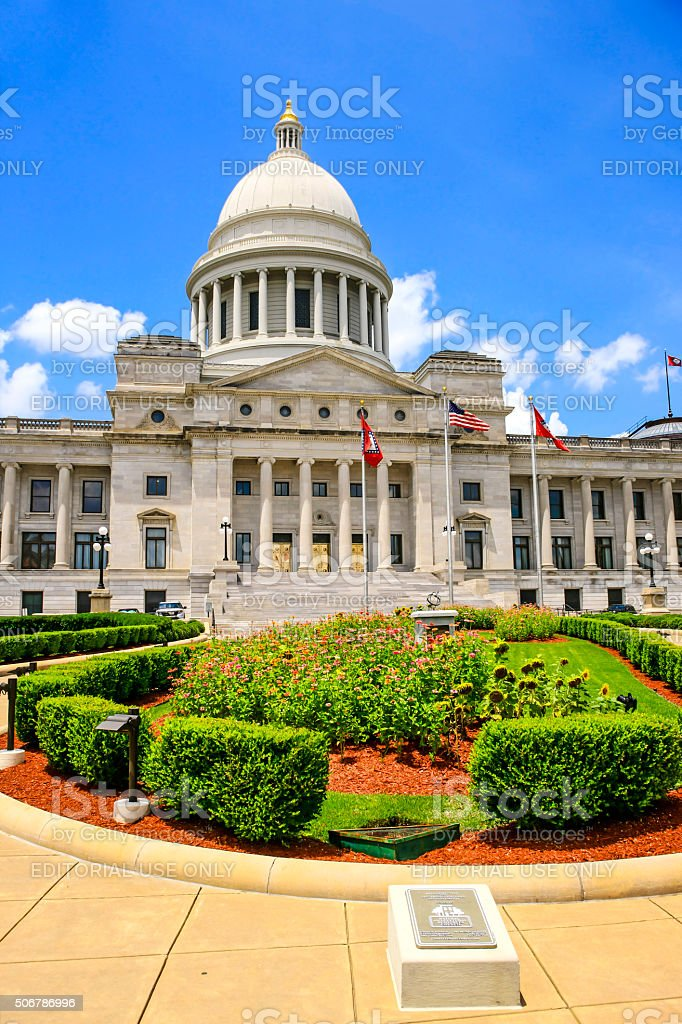 The Arkansas State Capitol building in Little Rock. stock photo