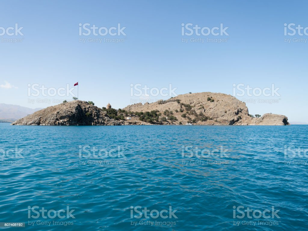 The Armenian Cathedral Church of the Holy Cross in Akdamar Island in Van Lake, Turkey stock photo
