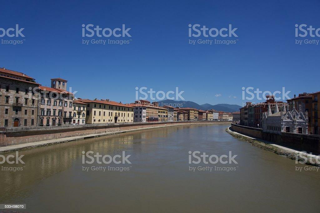 The Arno River in Pisa, Italy stock photo