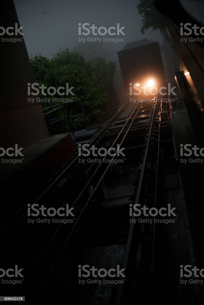 the arrival of the cable car on the tracks stock photo
