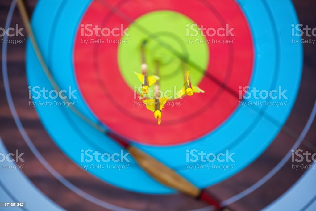 The arrow pierced the center of the paper target of concentric circles of different colors stock photo