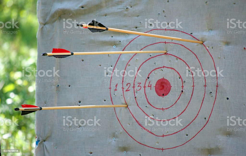 The arrows sticking out of target edges stock photo