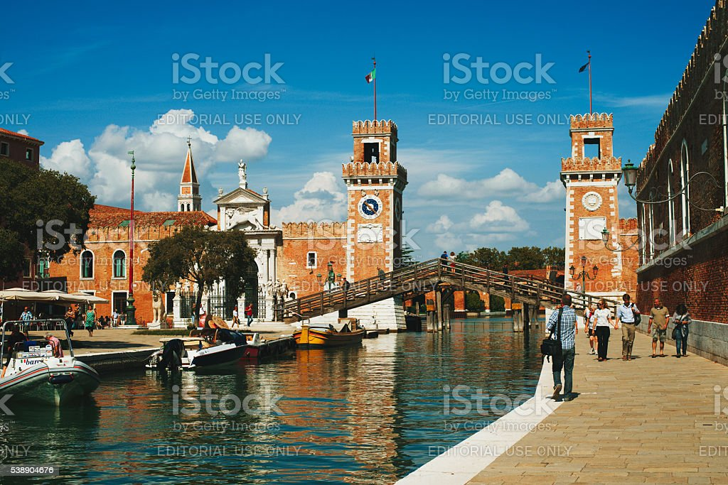 The Arsenale of Venice, a complex of former shipyards stock photo