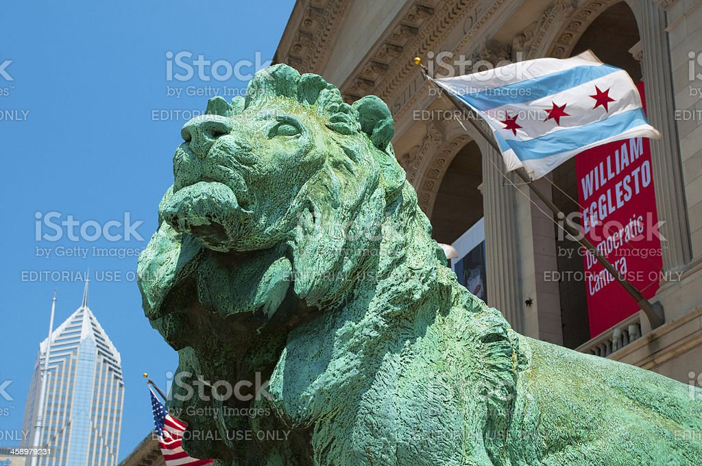 The Art Institute of Chicago Lion Statue stock photo