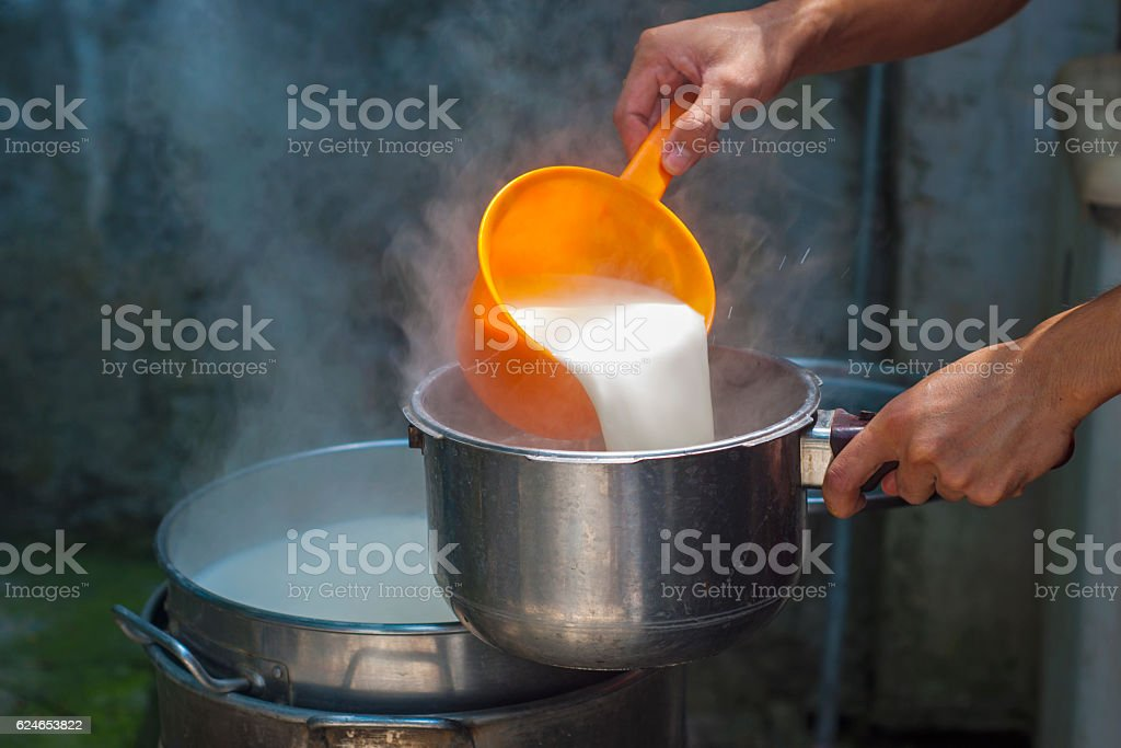 The Art of Making Soya Milk stock photo