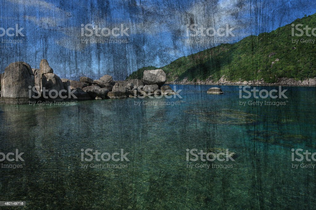 The art of painting Koh Tao seascape, Thailand background stock photo
